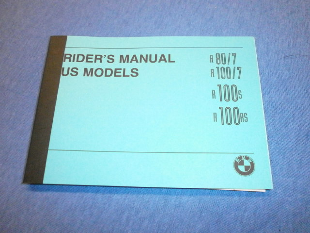 Handbuch/Riders manual US models 80/7,100/7,100S,100RS in english