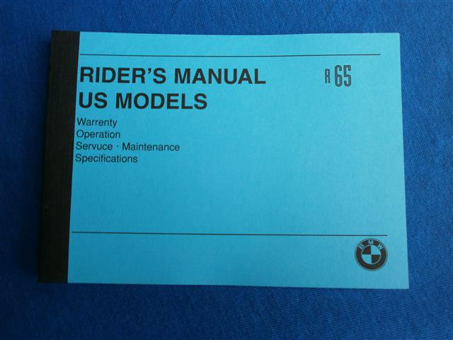 Riders manual US model R65 ab Bj 1980-1985 in english